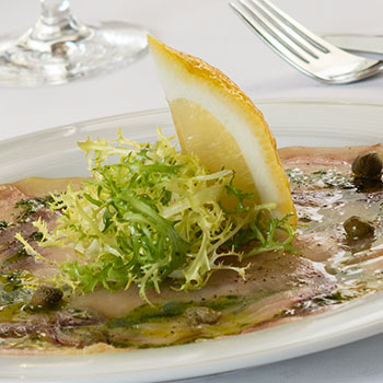 Swordfish carpaccio with olive oil and lemon